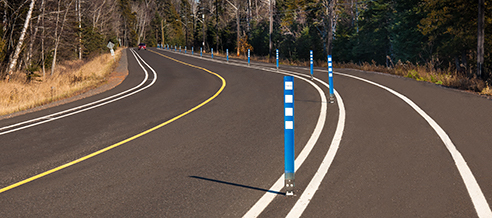Cyclo-Zone flexible bollard delineator post used on a protected on road multi-use path
