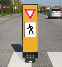 Flexible pedestrian crossover sign