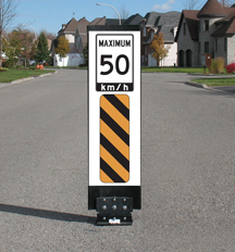 Flexible Maximum 50 Traffic Calming sign