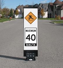 Traffic calming sign - Playground ahead Maximum 40 Speed reduction sign